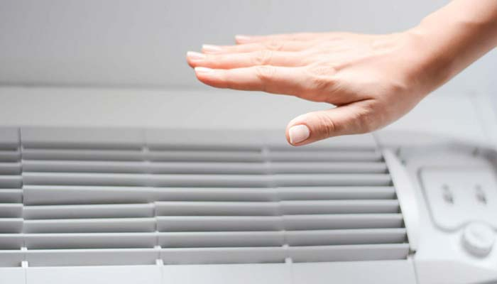 hand feeling air conditioner